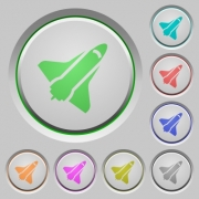 Space shuttle color icons on sunk push buttons - Space shuttle push buttons