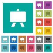 Blackboard multi colored flat icons on plain square backgrounds. Included white and darker icon variations for hover or active effects. - Blackboard square flat multi colored icons