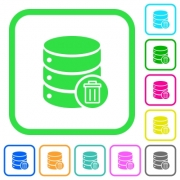 Delete from database vivid colored flat icons in curved borders on white background