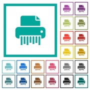 Office shredder flat color icons with quadrant frames on white background - Office shredder flat color icons with quadrant frames