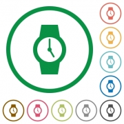 Watch flat color icons in round outlines on white background - Watch flat icons with outlines