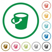 Bucket flat color icons in round outlines on white background - Bucket flat icons with outlines