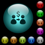 Send dollars icons in color illuminated spherical glass buttons on black background. Can be used to black or dark templates - Send dollars icons in color illuminated glass buttons