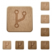 Code fork on rounded square carved wooden button styles - Code fork wooden buttons