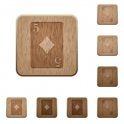 Five of diamonds card on rounded square carved wooden button styles - Five of diamonds card wooden buttons
