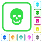 Human skull vivid colored flat icons in curved borders on white background - Human skull vivid colored flat icons