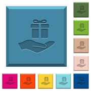 Gifting engraved icons on edged square buttons in various trendy colors - Gifting engraved icons on edged square buttons