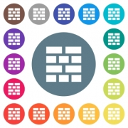 Brick wall flat white icons on round color backgrounds. 17 background color variations are included. - Brick wall flat white icons on round color backgrounds