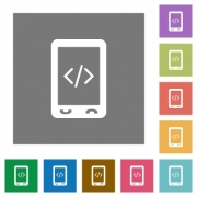 Mobile scripting flat icons on simple color square backgrounds - Mobile scripting square flat icons