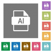 AI file format flat icons on simple color square backgrounds