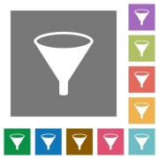 Funnel flat icons on simple color square backgrounds - Funnel square flat icons