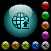 Upload to internet icons in color illuminated spherical glass buttons on black background. Can be used to black or dark templates - Upload to internet icons in color illuminated glass buttons