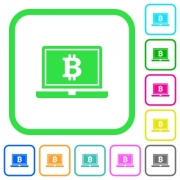 Laptop with Bitcoin sign vivid colored flat icons in curved borders on white background