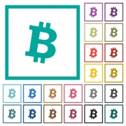 Bitcoin digital cryptocurrency flat color icons with quadrant frames on white background - Bitcoin digital cryptocurrency flat color icons with quadrant frames