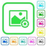 Image settings vivid colored flat icons in curved borders on white background - Image settings vivid colored flat icons