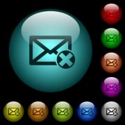 Delete mail icons in color illuminated spherical glass buttons on black background. Can be used to black or dark templates - Delete mail icons in color illuminated glass buttons