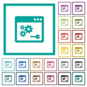 API key flat color icons with quadrant frames on white background