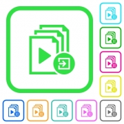 Import playlist vivid colored flat icons in curved borders on white background - Import playlist vivid colored flat icons