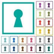 Keyhole flat color icons with quadrant frames on white background - Keyhole flat color icons with quadrant frames