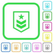 Military rank vivid colored flat icons in curved borders on white background - Military rank vivid colored flat icons