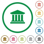 University flat color icons in round outlines on white background - University flat icons with outlines