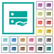 Shared drive flat color icons with quadrant frames on white background