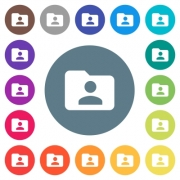Folder owner flat white icons on round color backgrounds. 17 background color variations are included. - Folder owner flat white icons on round color backgrounds