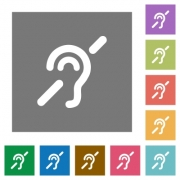 Hearing impaired flat icons on simple color square backgrounds - Hearing impaired square flat icons