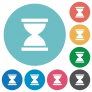 Hourglass flat white icons on round color backgrounds - Hourglass flat round icons