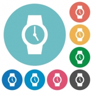 Watch flat white icons on round color backgrounds - Watch flat round icons