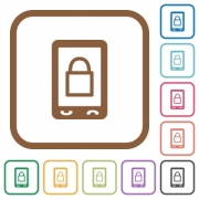 Lock mobile simple icons in color rounded square frames on white background - Lock mobile simple icons
