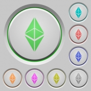 Ethereum classic digital cryptocurrency color icons on sunk push buttons - Ethereum classic digital cryptocurrency push buttons