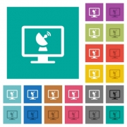 Remote desktop multi colored flat icons on plain square backgrounds. Included white and darker icon variations for hover or active effects. - Remote desktop square flat multi colored icons