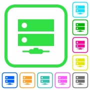Network drive vivid colored flat icons in curved borders on white background - Network drive vivid colored flat icons