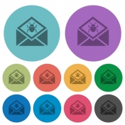 Open mail with malware symbol darker flat icons on color round background - Open mail with malware symbol color darker flat icons