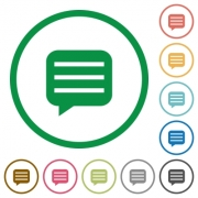 Message box with rows flat color icons in round outlines on white background - Message box with rows flat icons with outlines