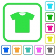 T-shirt vivid colored flat icons in curved borders on white background - T-shirt vivid colored flat icons