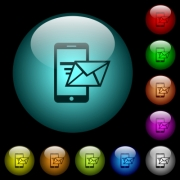 Sending email from mobile phone icons in color illuminated spherical glass buttons on black background. Can be used to black or dark templates - Sending email from mobile phone icons in color illuminated glass buttons