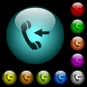 Incoming phone call icons in color illuminated spherical glass buttons on black background. Can be used to black or dark templates - Incoming phone call icons in color illuminated glass buttons