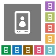 Mobile user profile flat icons on simple color square backgrounds - Mobile user profile square flat icons