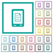 Mobile call list flat color icons with quadrant frames on white background - Mobile call list flat color icons with quadrant frames