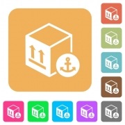 Sea package transportation flat icons on rounded square vivid color backgrounds. - Sea package transportation rounded square flat icons