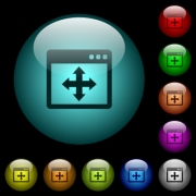 Move window icons in color illuminated spherical glass buttons on black background. Can be used to black or dark templates - Move window icons in color illuminated glass buttons