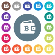 Bitcoin wallet flat white icons on round color backgrounds. 17 background color variations are included. - Bitcoin wallet flat white icons on round color backgrounds