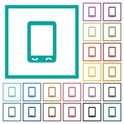 Mobile phone with blank display flat color icons with quadrant frames on white background - Mobile phone with blank display flat color icons with quadrant frames