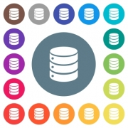 Single database flat white icons on round color backgrounds. 17 background color variations are included. - Single database flat white icons on round color backgrounds