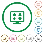 Online gambling flat color icons in round outlines on white background - Online gambling flat icons with outlines