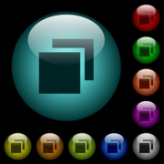 Overlapping elements icons in color illuminated spherical glass buttons on black background. Can be used to black or dark templates - Overlapping elements icons in color illuminated glass buttons