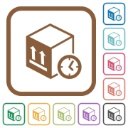 Package shipping time simple icons in color rounded square frames on white background - Package shipping time simple icons