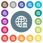 Internet banking flat white icons on round color backgrounds. 17 background color variations are included. - Internet banking flat white icons on round color backgrounds